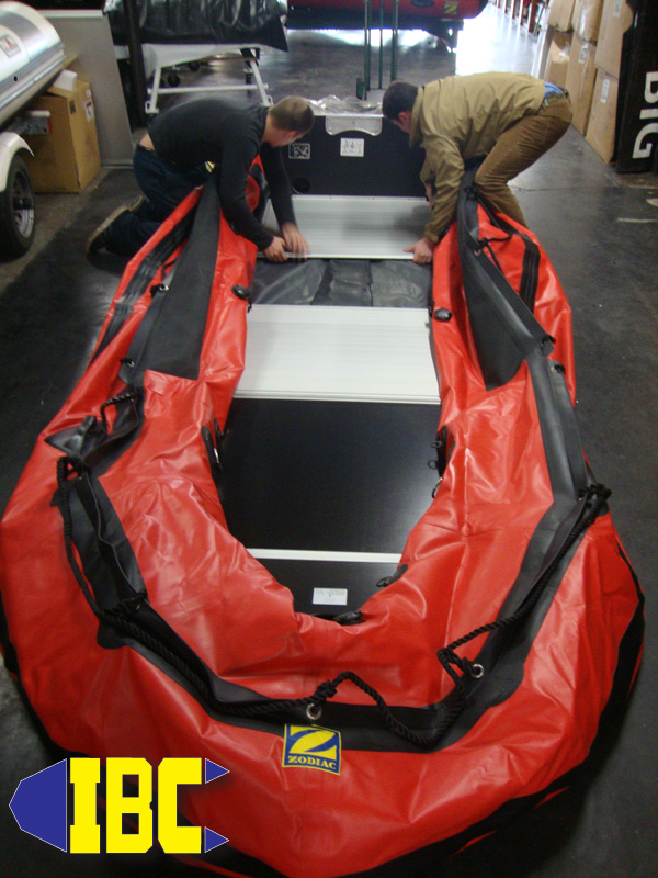 Unroll your Zodiac MK# and fit all floor boards except the middle aluminum one.