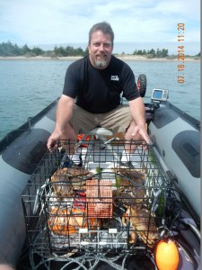 crabbing in an inflatable boat
